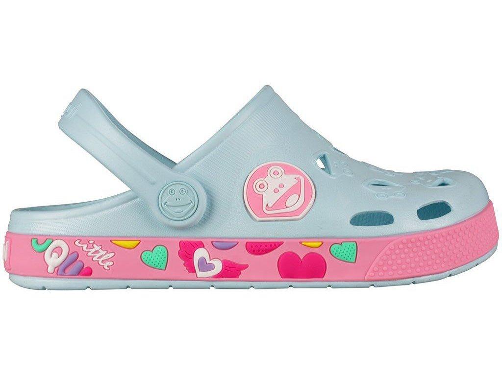 Kvalitní dětské plážové sandály croksy Coqui Froggy Sv.Modrá/Růžová ve světle modré barvě