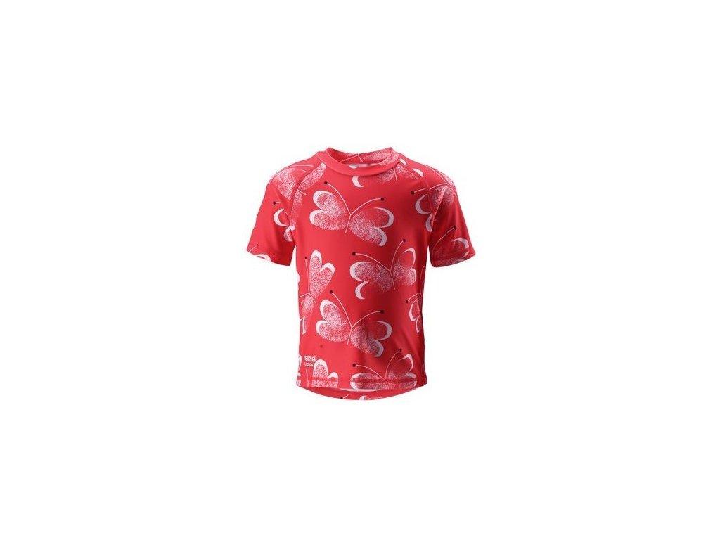 Kvalitní dětské plážové tričko s krátkým rukávem a UV ochranou Reima Azores - Bright red v červené barvě