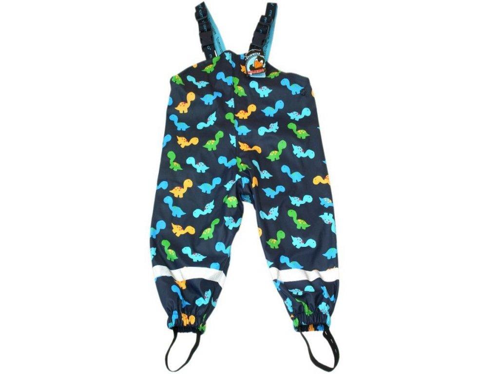 Kvalitní dětské nepromokavé kalhoty do deště s laclem Maximo Dino v modré barvě