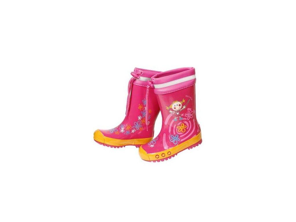 Kvalitní dětské batolecí gumáky z přírodního kaučuku Maximo princezna v růžové barvě