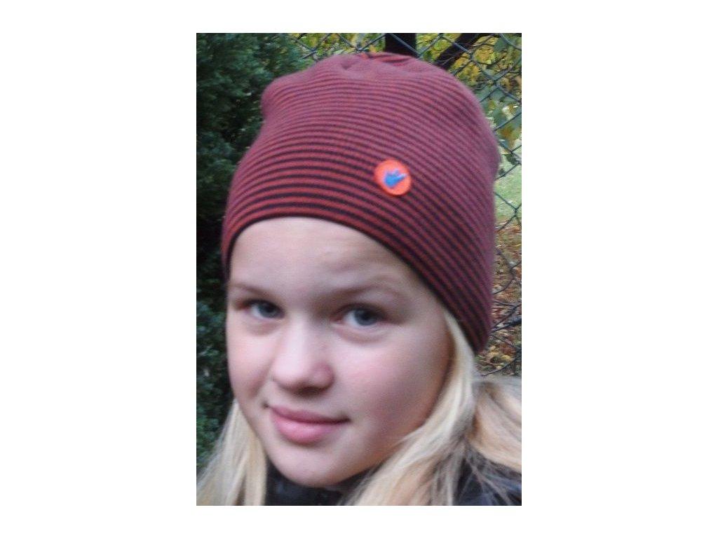 Kvalitní dětská zimní čepice Maximo v hnědo-černé barvě