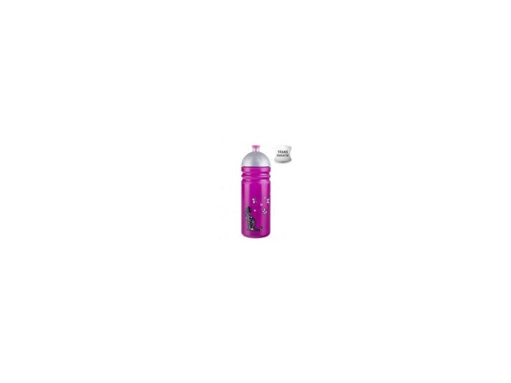 Kvalitní plastová dětská láhev bez BPA Zdravá láhev Kočka 0,7 l ve fialové barvě