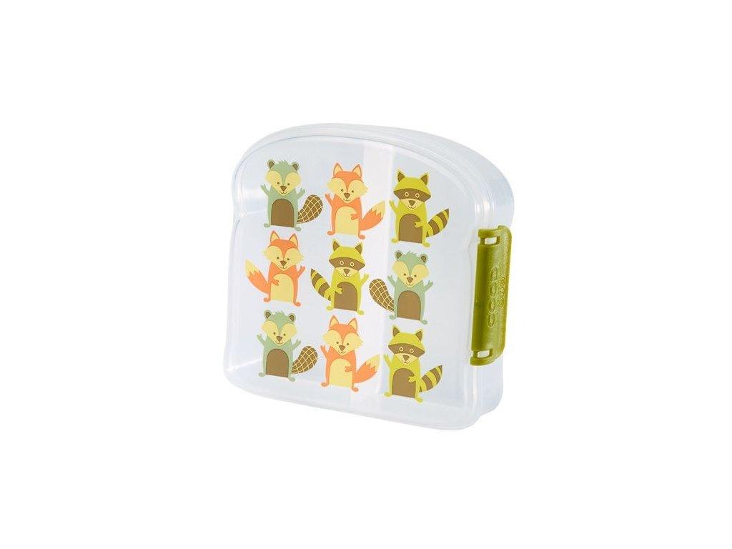 Kvalitní dětská svačinová krabička s třemi oddělenými částmi a bez BPA Sugarbooger Good Lunch sandwich box - What did the Fox Eat