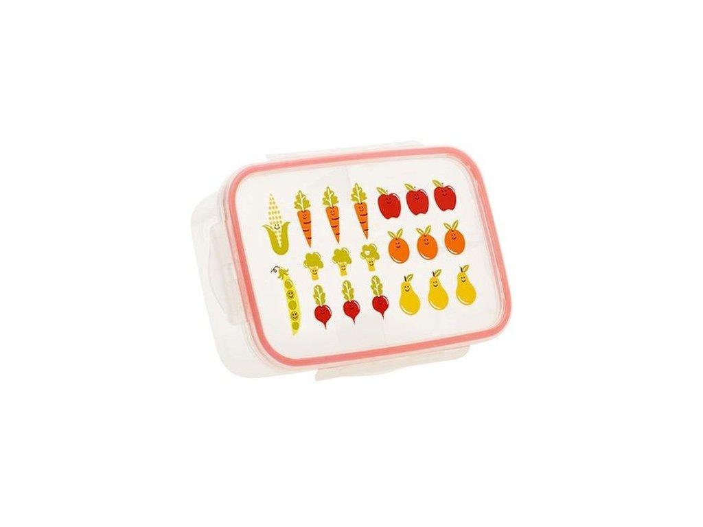 Kvalitní dětská svačinová krabička s třemi oddělenými částmi a bez BPA Sugarbooger Good Lunch box - My Garden