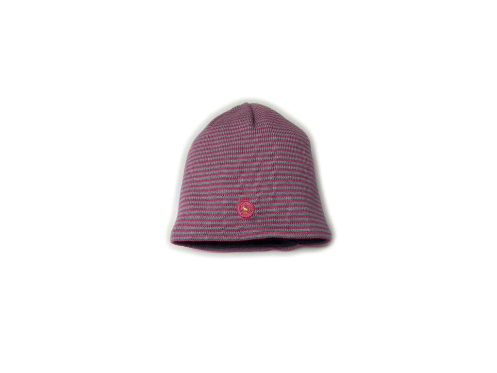 Dětská zimní čepice Maximo proužek růžová/šedá