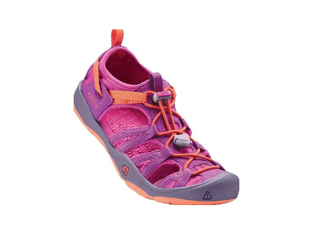 Kvalitní dětské pohodlné sandály pro sport a výlety Keen Moxie purple wine/nasturtium ve vínové barvě