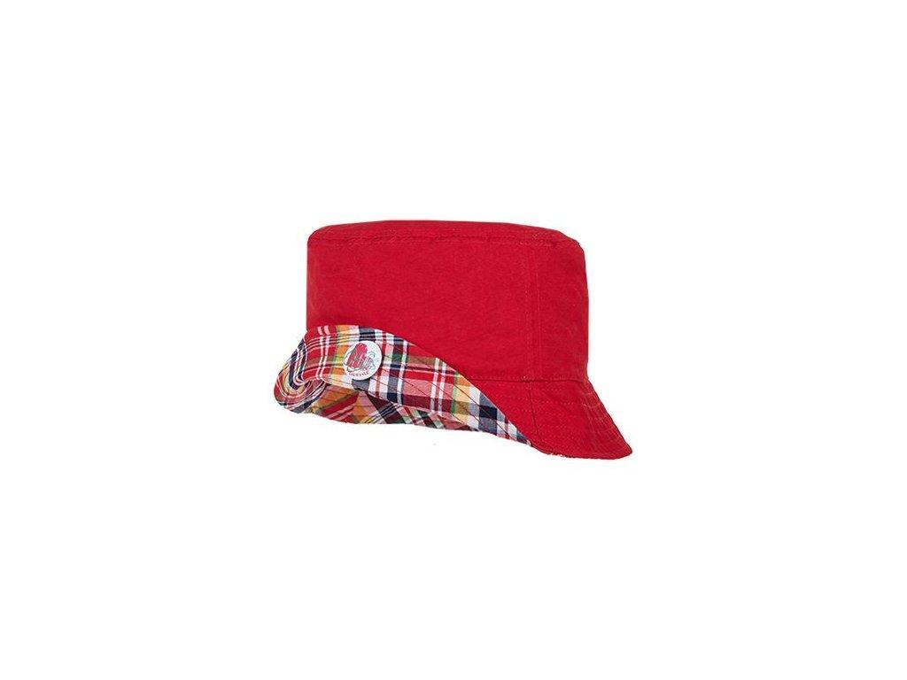 Kvalitní dětský oboustranný bavlněný klobouček Maximo v červené barvě