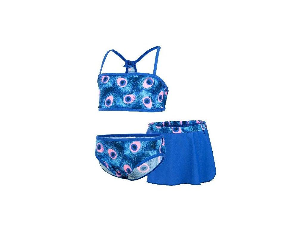 Kvalitní dětské dívčí třídílné rychleschnoucí plavky s UV ochranou Bikini Vanilla Color Kids UPF 40+ v modré barvě