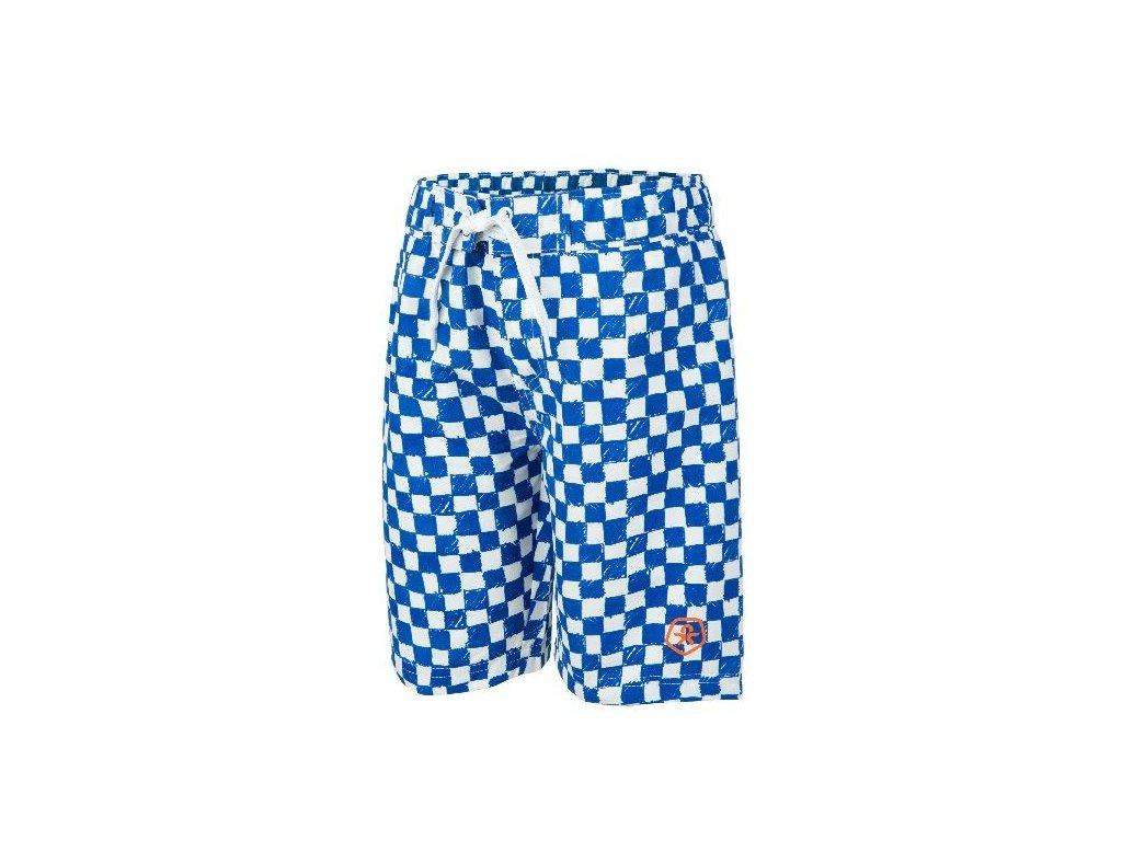 Kvalitní chlapecké rychleschnoucí šortkové plavky s UV ochranou Veleo Color Kids modro-bílá kostka