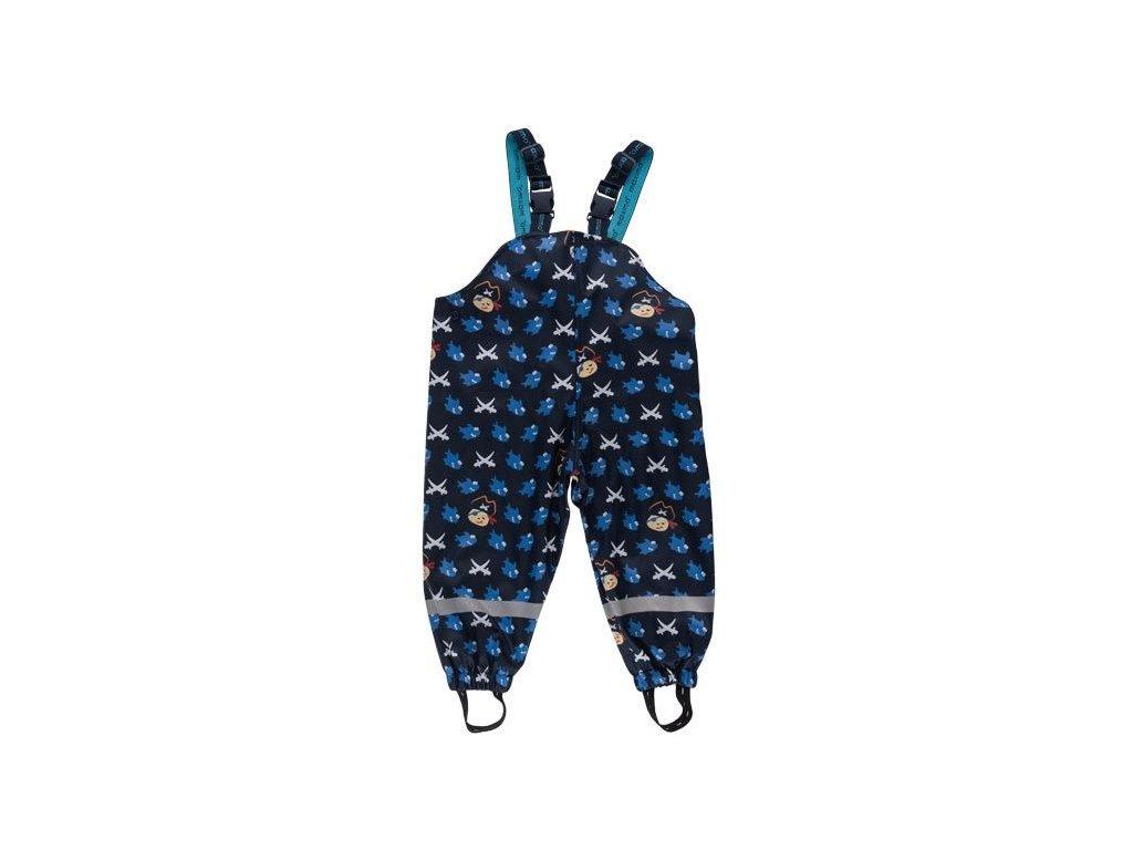 Kvalitní dětské nepromokavé kalhoty do deště s laclem Maximo Pirát v modré barvě