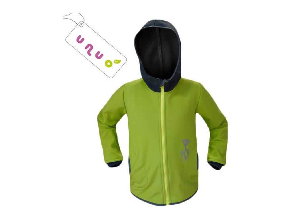 Kvalitní dětská prodyšná jarní softshellová bunda s kapucí a reflexními prvky Unuo Basic v zelené barvě