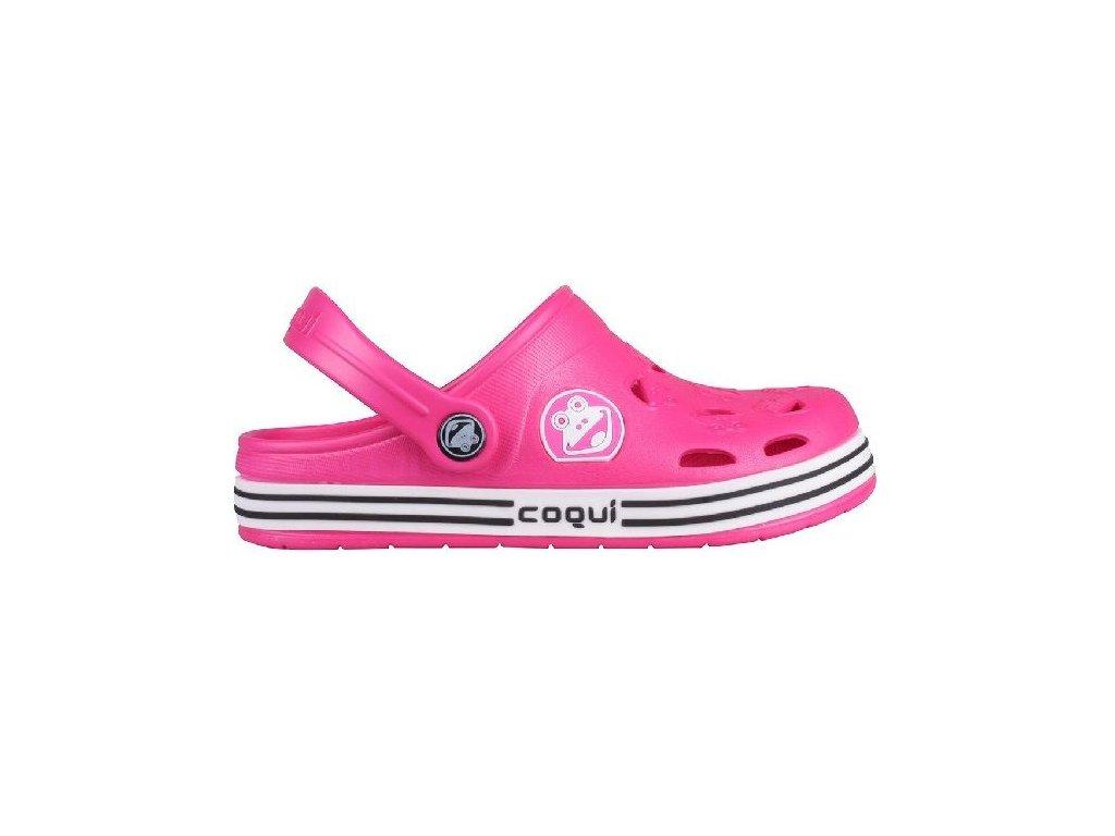8fb68a4030645 Kvalitní dětské plážové sandály croksy Coqui Froggy růžové v růžové barvě