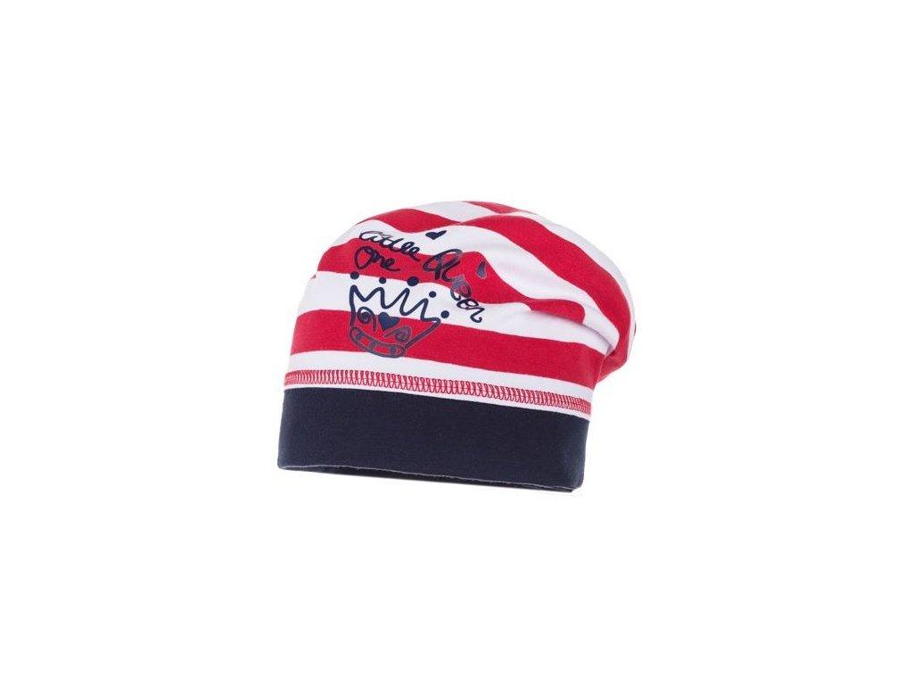 Kvalitní dětská bavlněná zimní čepice Maximo Queen v červeno-bílé barvě