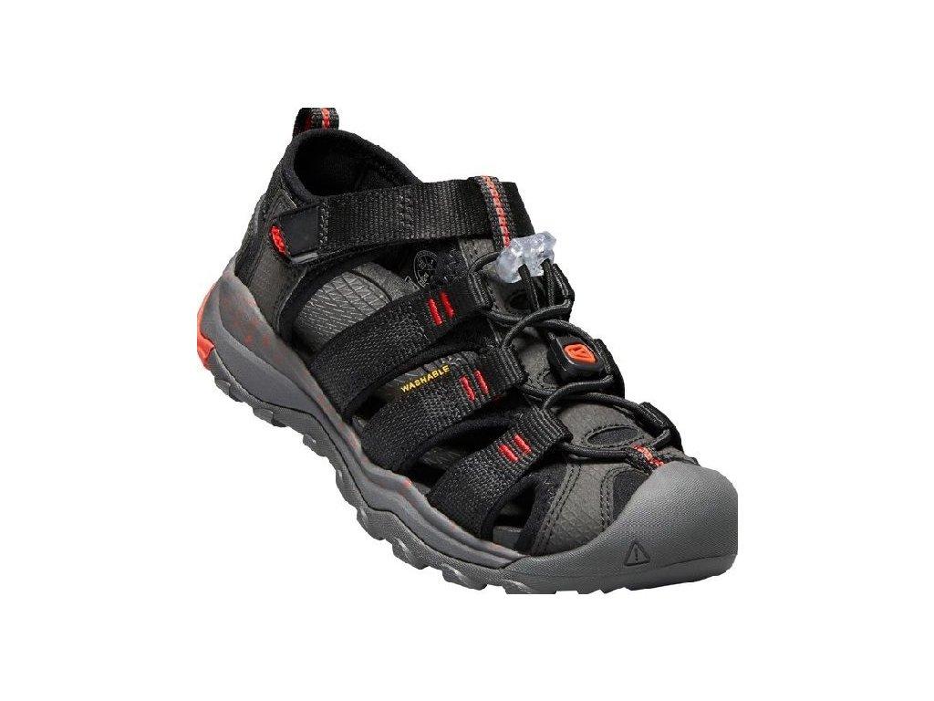 Kvalitní dětské odolné sandály pro sport a výlety Keen Newport Neo H2 black/firey red v černé barvě