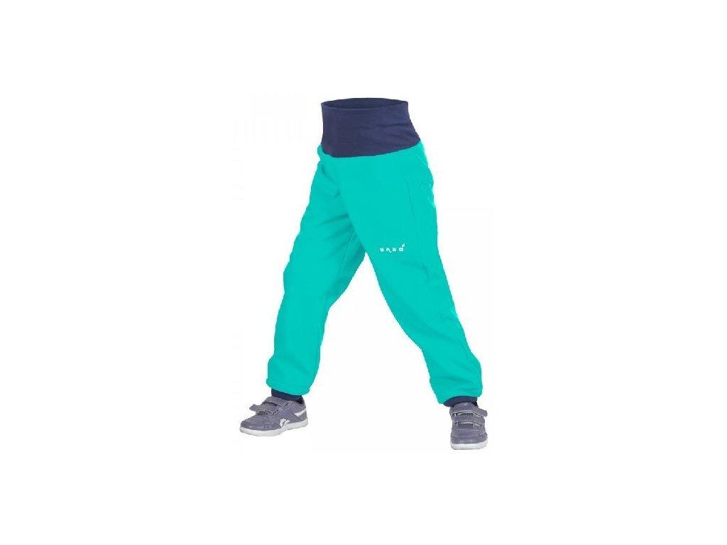 Kvalitní dětské lehké softshellové kalhoty s reflexními prvky Unuo Evžen ve smaragdové barvě