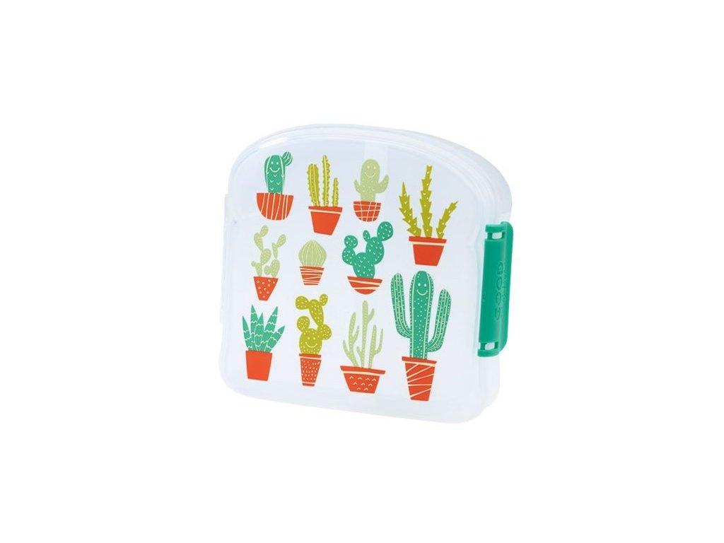 Kvalitní dětská svačinová krabička s třemi oddělenými částmi a bez BPA Sugarbooger Good Lunch sandwich box - Happy Cactus