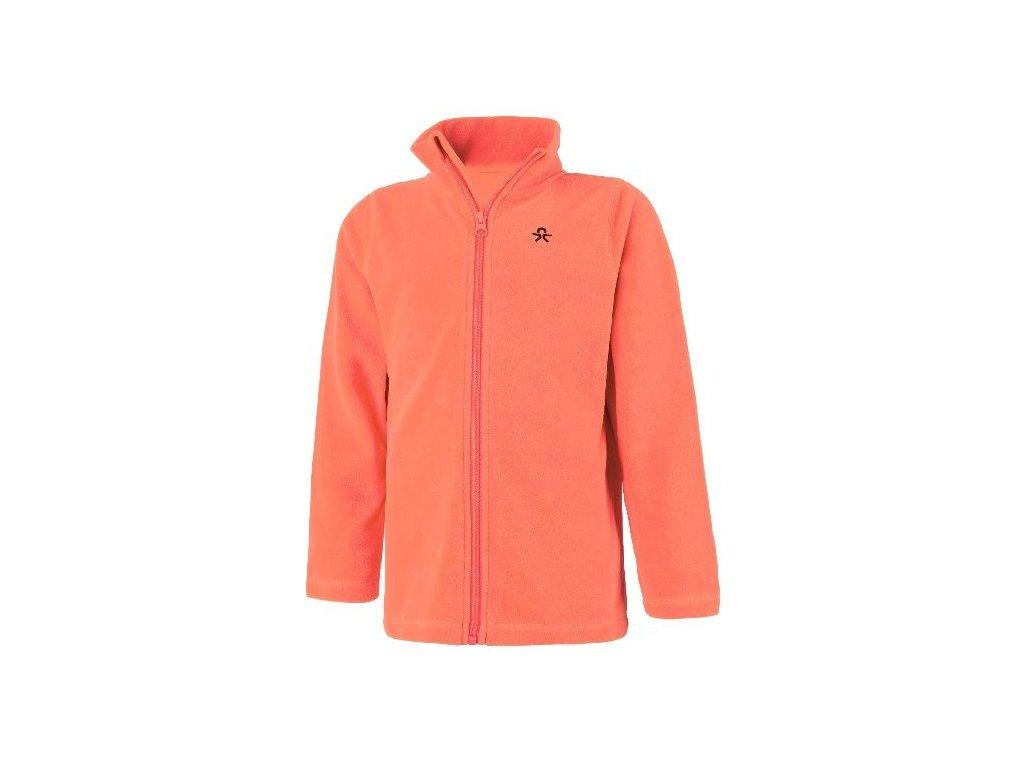 Color Kids Tembing fleece jacket - Fiery coral