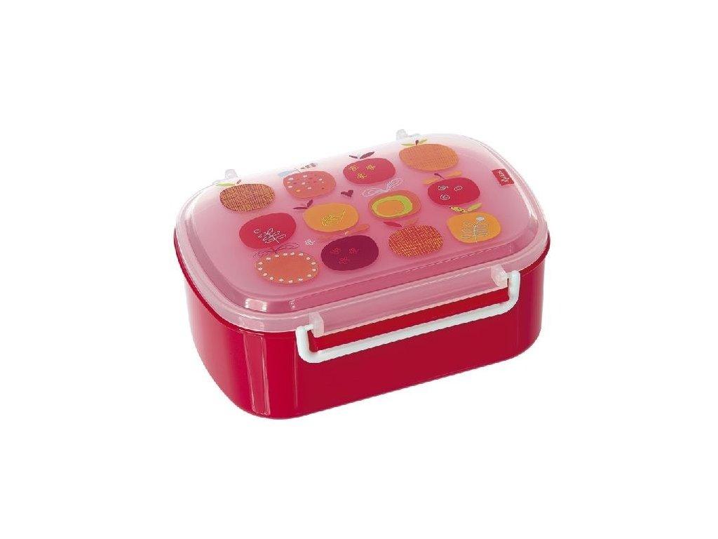 Kvalitní dětská krabička na svačinu s druhou odjímatelnou krabičkou na ovoce Sigikid Apfelherz v červené barvě