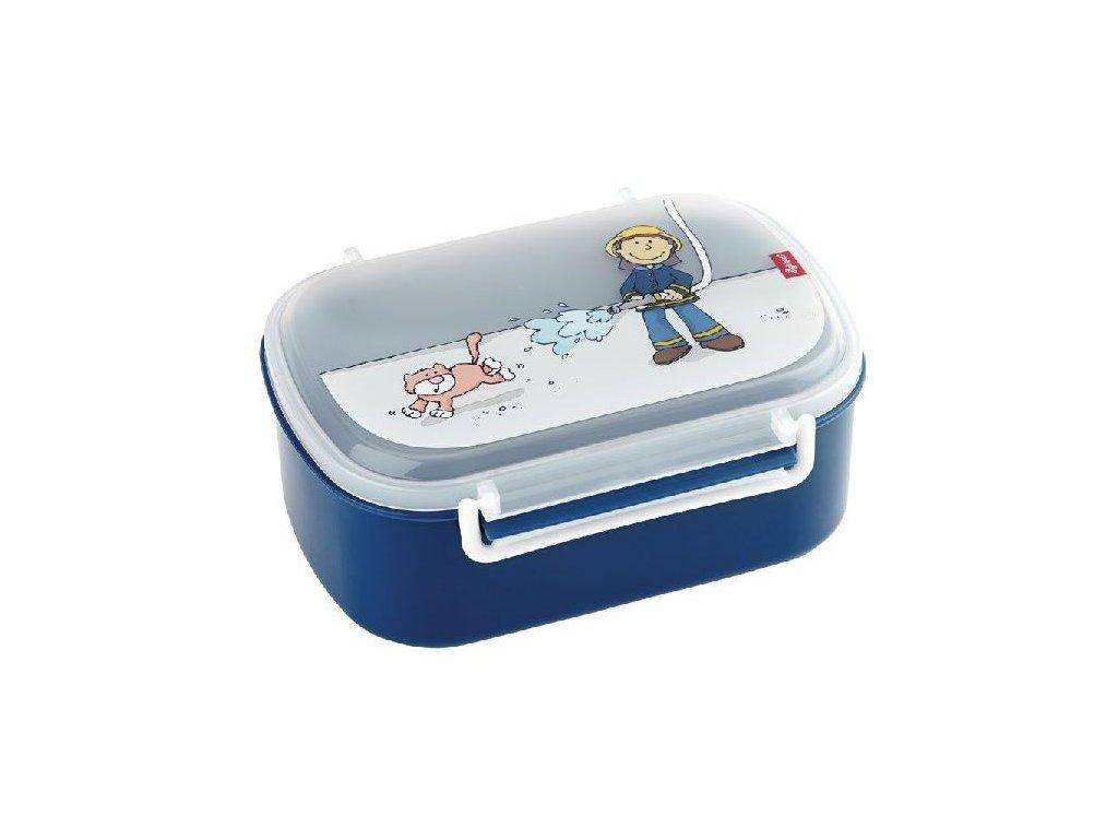 Kvalitní dětská plastová krabička na svačinu s druhou odjímatelnou krabičkou na ovoce Sigikid Frido Firefithter v modré barvě