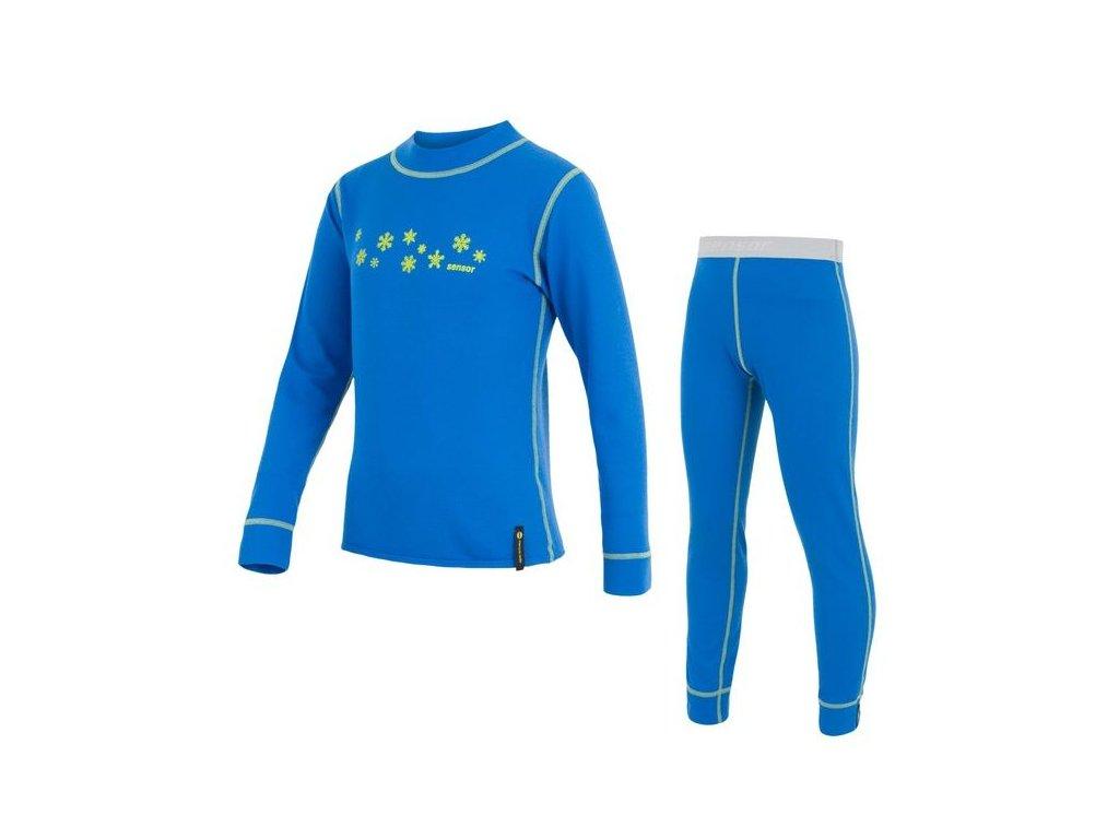 Kvalitní dětské teplé a příjemné funkční prádlo Sensor Double Face v modré barvě