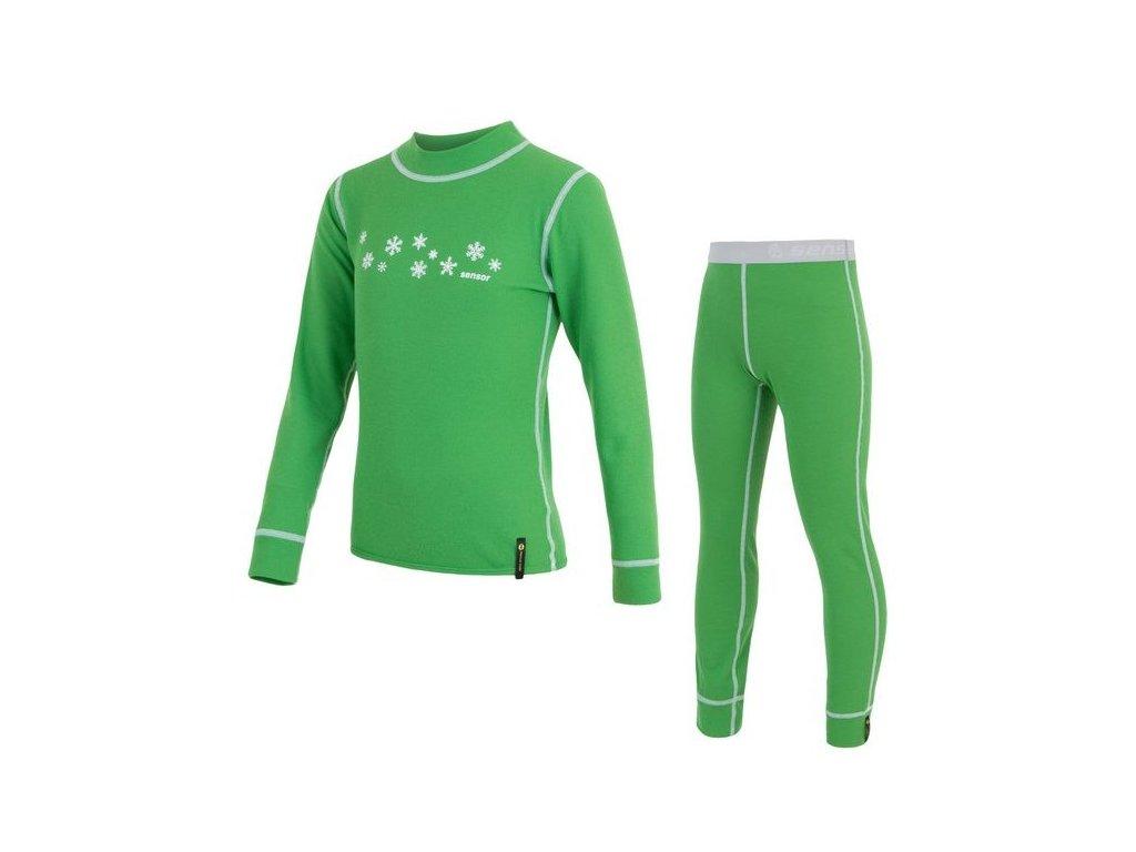 Kvalitní dětské teplé a příjemné funkční prádlo Sensor Double Face v zelené barvě