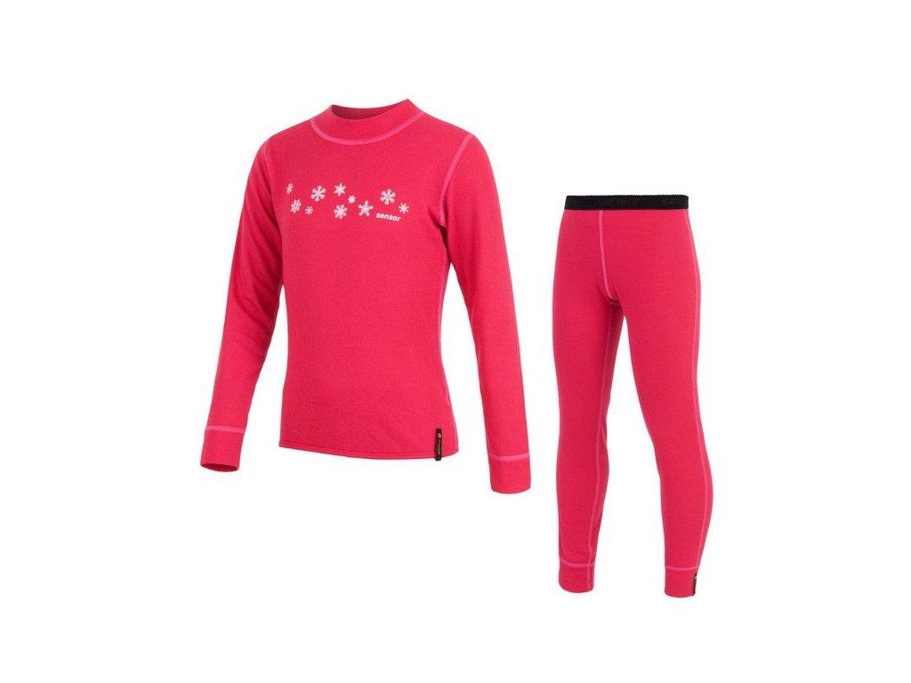 Kvalitní dětské teplé a příjemné funkční prádlo Sensor Double Face v barvě magenta