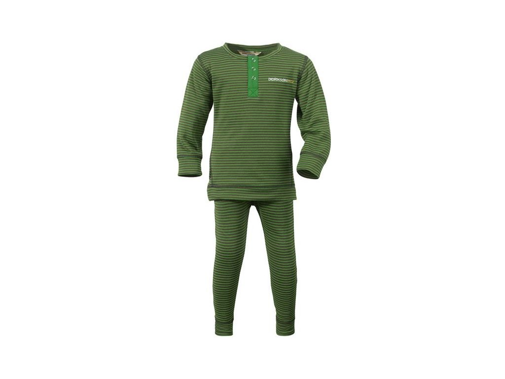 Kvalitní dětské teplé a příjemné funkční prádlo Didriksons Moarri v tmavě zelené barvě