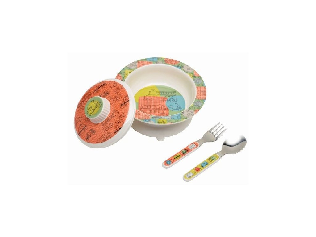 Kvalitní dětský set talířku a příboru vyroben z melaminu a bez BPA Sugarbooger Suction bowl set Road trip