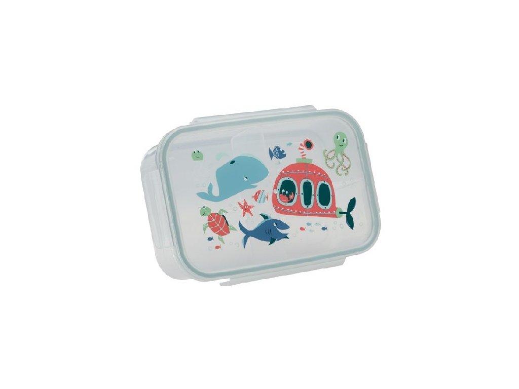 Kvalitní dětská svačinová krabička s třemi oddělenými částmi bez BPA Sugarbooger Good Lunchbox Ocean