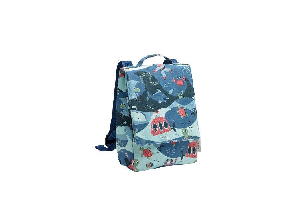 Kvalitní nylonový, komfortní a propracovaný dětský batoh pro předškoláky Sugarbooger Backpack Ocean v modré barvě