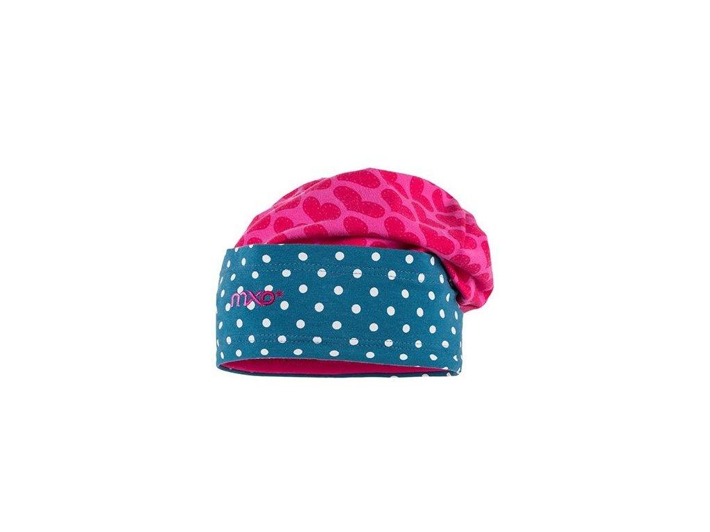 Kvalitní dětská bavlněná zimní čepice Maximo srdíčka a puntíky