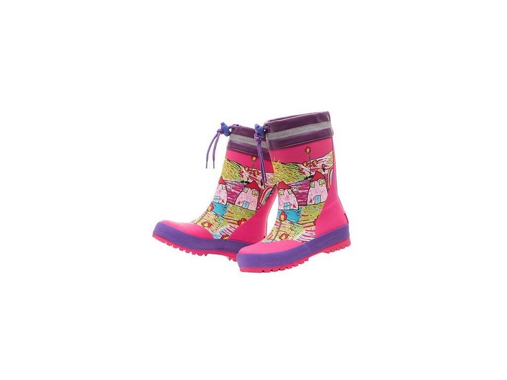 Kvalitní dětské batolecí gumáky z přírodního kaučuku Maximo domečky v růžové barvě