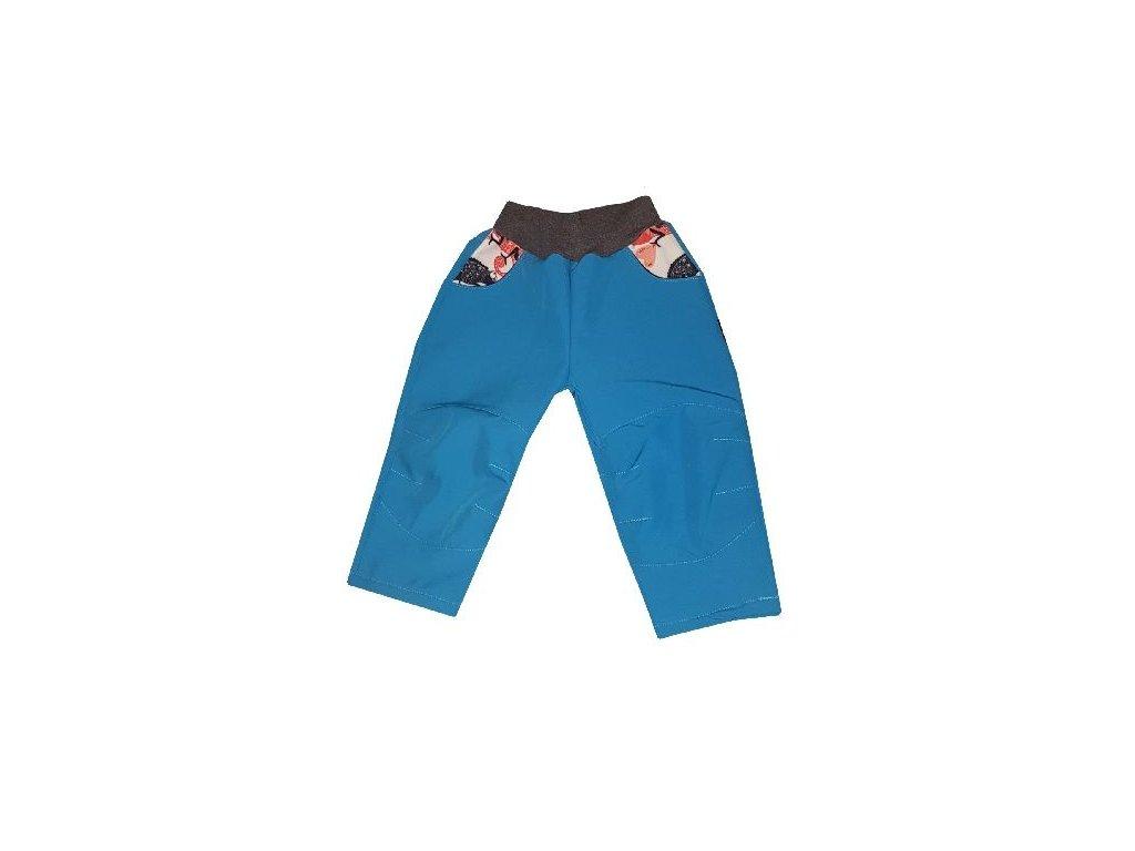 Kvalitní dětské lehké softshellové kalhoty s reflexními prvky Kakadu tyrkysové - chameleon v tyrkysové barvě