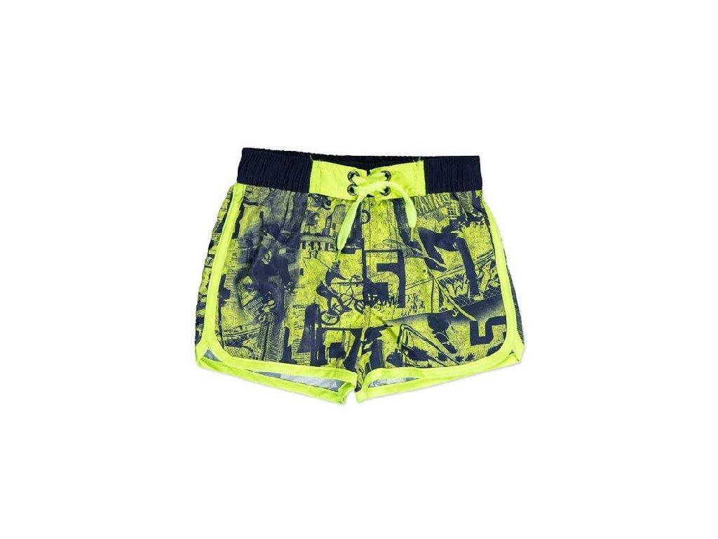 Kvalitní chlapecké rychleschnoucí šortkové plavky s UV ochranou Losan černo-limetkové
