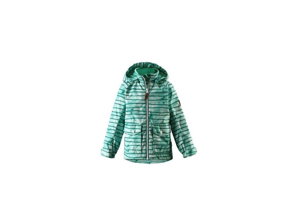 Kvalitní dětská chlapecká nepromokavá jarní bunda s membránou, kapucí a reflexními prvky Reima Knot - green v zelené barvě