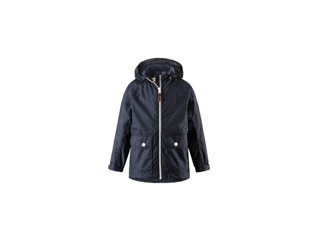Kvalitní dětská chlapecká nepromokavá jarní bunda s membránou, kapucí a reflexními prvky Reima Knot - navy v tmavě modré barvě