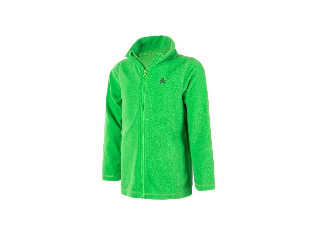 Kvalitní dětská hřejivá jarní fleecová mikina Color Kids Tembing fleece jacket Toucan green v zelené barvě