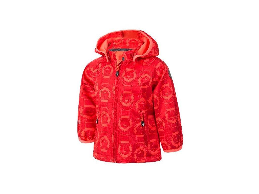 Kvalitní dětská prodyšná jarní softshellová bunda s kapucí a reflexními prvky Color Kids Veast mini - Racing red v červené barvě