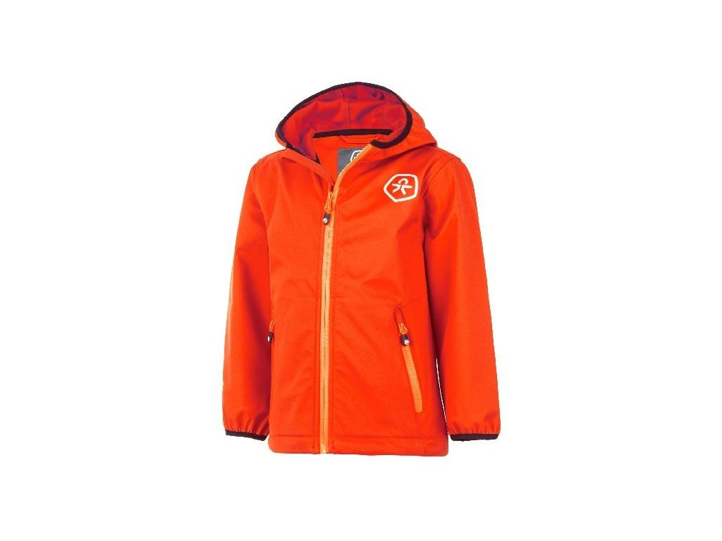 Kvalitní dětská prodyšná jarní softshellová bunda s kapucí a reflexními prvky Color Kids Barkin - Fiery coral v oranžové barvě