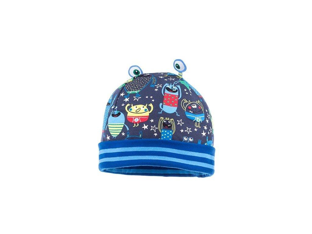 Kvalitní dětská bavlněná zimní čepice Maximo ufoni v modré barvě