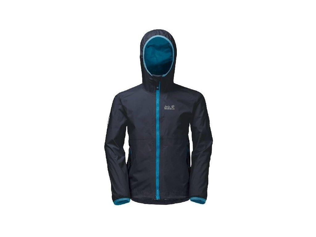 Kvalitní dětská chlapecká nepromokavá jarní bunda s membránou, kapucí a reflexními prvky Jack Wolfskin Rainy Days night blue v tmavě modré barvě