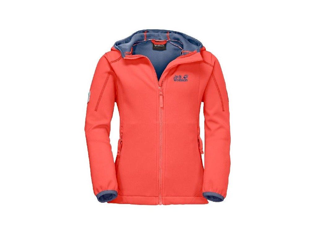 Kvalitní dětská dívčí zateplená jarní softshellová bunda s kapucí a reflexními prvky Jack Wolfskin hot coral v oranžové barvě