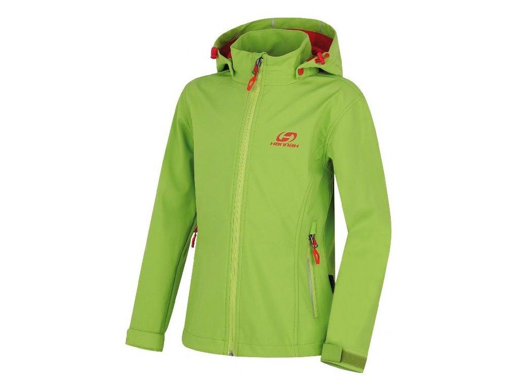 Kvalitní dětská prodyšná jarní softshellová bunda s kapucí a reflexními prvky Hannah Kasha Lite JR lime green v zelené barvě