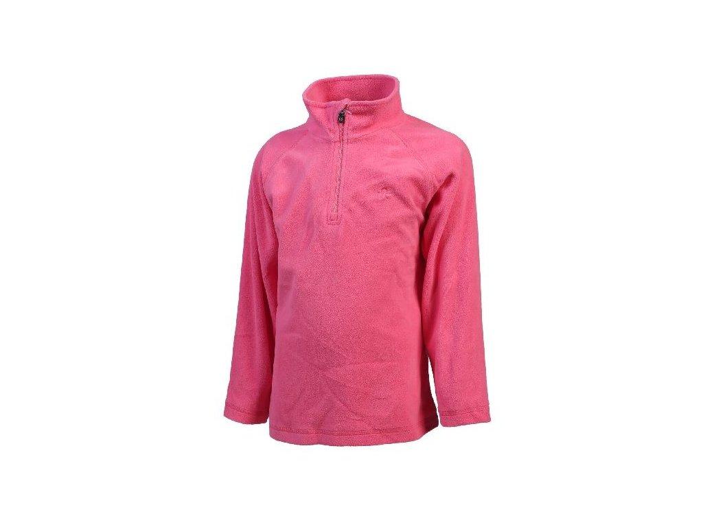 Kvalitní dětská hřejivá jarní fleecová mikina Color Kids Sandberg fleece Camallia rose v růžové barvě