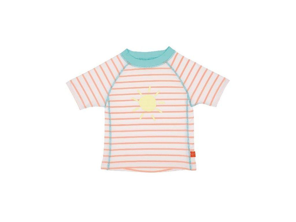 Kvalitní dětské UV tričko s krátkými rukávy a UPF 50+ Lassig Rashguard short sleeve girls Sailor peach ve světle broskvové barvě