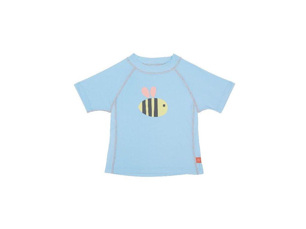 Kvalitní dětské UV tričko s krátkými rukávy a UPF 50+ Lassig Rashguard short sleeve girls Bumble Bee ve světle modré barvě