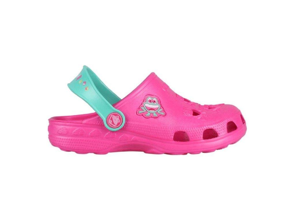 Kvalitní dětské plážové sandály croksy Coqui Little Frog Fuchsia/Mint ve fialové barvě