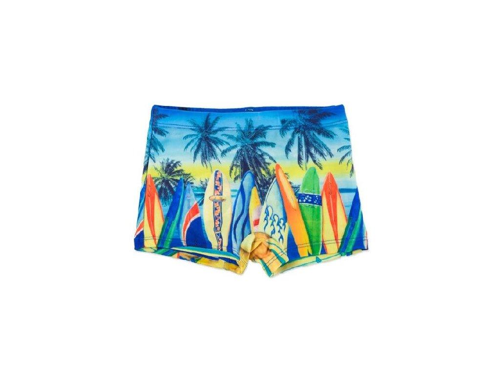 Kvalitní chlapecké rychleschnoucí šortkové plavky s UV ochranou Losan palmy oranžové