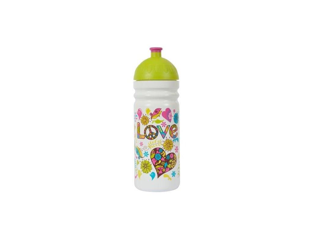 Kvalitní plastová dětská láhev bez BPA Zdravá láhev Hippies 0,7 l v bílo-zelené barvě