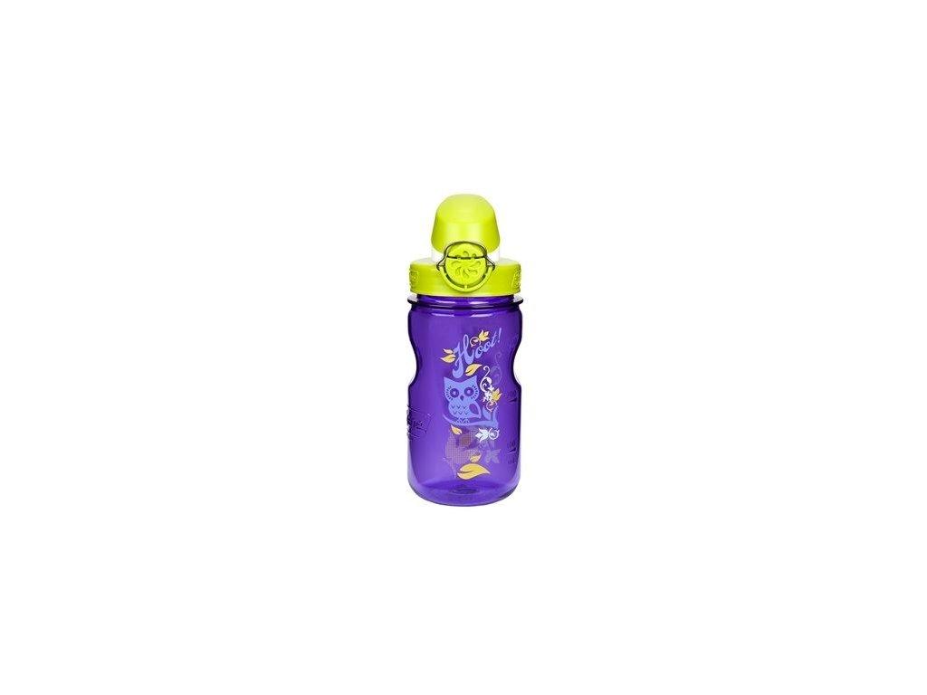Kvalitní dětská plastová láhev bez BPA Nalgene OTF - fialová sova 350 ml ve fialové barvě